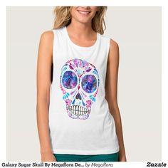 Galaxy Sugar Skull By Megaflora Design Tank Top  Rainbow Mandala Leggings by Megaflora Design.  # #megaflora #megafloradesign #mandala #sugar #skull #galaxy #shirt #top #basshead #bassnectar #music #festival #electric #forest #outfit #edm #rave #colorful #boho #hippie #yoga