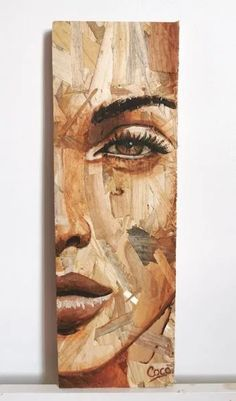 Kunst Inspo, Creative Artwork, Art And Illustration, Portrait Art, Pattern Art, Painting On Wood, Female Art, Wood Art, Art Projects