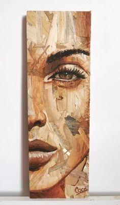 Wood Art Design, Diy Wall Art, Wood Wall Art, Creative Artwork, Painting On Wood, Painting Pressed Wood, Pebble Art, Portrait Art, Pattern Art