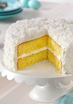 Classic ANGEL FLAKE Coconut Cake – Yellow cake, coconut and pudding are about to become BFFs. After one taste of this moist cake, you'll be convinced to make these three ingredients inseparable on your grocery list. Enter the Celebrate Delicious Spring Desserts Pin to Win Sweepstakes! Pin your favorite dessert or select your own for a chance to win a professional mixer! Visit www.kraftrecipes.com/springdesserts/?affiliate_id=1a for complete details.