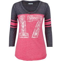 maurices Graphic Burnout Baseball Tee featuring polyvore, fashion, clothing, tops, t-shirts, shirts, long sleeves, pink escape, graphic tees, long sleeve t shirts, baseball tee, long sleeve tee and 3/4 sleeve t shirt