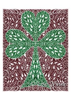 """note: copyright watermarks do not appear on the actual cards.    The title of these cards is """"Shamrock with Leaves"""".     Your package will include three signed 5.25"""" x 7.125"""" greeting cards printed wi"""