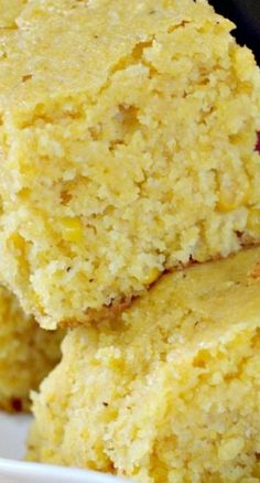 Sweet Cornbread ~ nice and moist... A delightful recipe with a sweet flavor that includes a can of creamed corn for great texture... Great served with Chili or any kind of Tex-Mex recipe. #sides