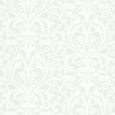 A damask pattern is lifted off the paper in raised white ink. The modern design has a striking metallic silver background. Petal is an unpasted, non woven wallpaper.