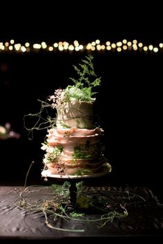 Earthy cake adorned with greenery