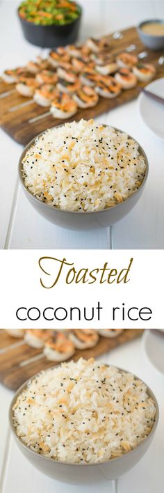 Toasted coconut rice starts with toasting jasmine rice in coconut oil then finished with delicious toasted coconut.