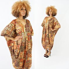 vintage 80s abstract METALLIC ethnic TRIBAL cocoon oversized caftan OSFM by PasseNouveauVintage, $45.00