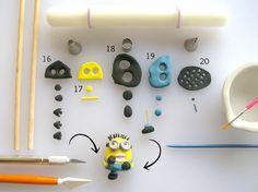 Fondant Despicable Me Minion tutorial Torta Minion, Fondant Minions, Minion Cupcakes, Cupcake Cakes, Fondant Cupcakes, Fondant Figures, Fondant Tools, Making Fondant, Cake Making