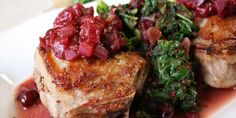 Harvest Pork Chops with Cranberry and Kale