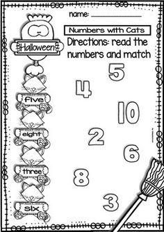 HALLOWEEN NO-PREP PRINTABLES AND FLASHCARDS (NUMBERS 1-10) - TeachersPayTeachers.com