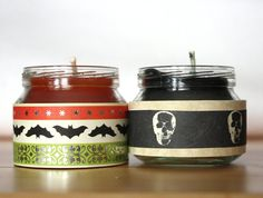 2 Soy Halloween Candles  recycled jar  halloween by WizardAtWork, $9.00