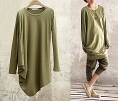 New Fashion Top Green Dress Loose Fitting Cotton Women Fall Dress Long Sleeve Clothing Round Neck T-shirt Women Side Shirred Top on Etsy, $58.00