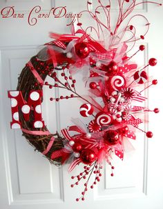 Peppermint Sticks & Lollipops Wreath with initial in small or large. $65.00, via Etsy.