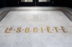 Typography inspiration | #975 – Tile Lettering Type Floor http://studiomunge.com/food-beverage/la-societe/