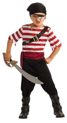 Black Jack Pirate Jumpsuit with attached sash and belt, eyepatch & head scarf. Sword NOT Included