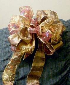 Purple --Gold & Chocolate Bow with sparkling Swirls and Snowflakes