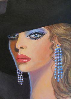 LADY WITH BLUE EARRINGS by Dian Bernardo