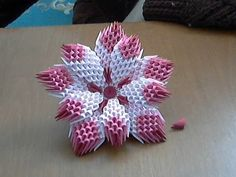 How to make 3d origami flower (model1) - YouTube