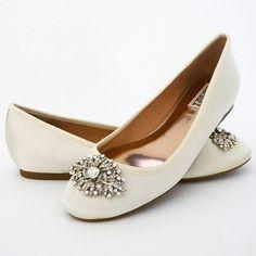 Abella Ivory Flat Wedding Shoes ~ Badgley Mischka Wedding Shoes. At last, an adorable flat bridal shoe from BM. Ivory silk bridal flats, vintage crystal ornament at the toe.
