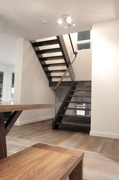 simple but attractive open tread stairway design. Contemporary Style Homes, Contemporary House Plans, Modern House Plans, Small House Plans, Architectural House Plans, Home Design Floor Plans, Staircase Design, Construction, Decoration
