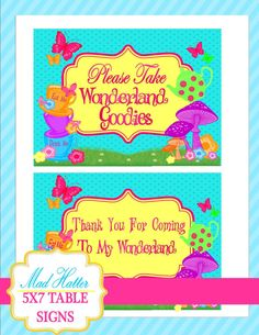 WONDERLAND Birthday Party - SIGNS - MAD HATTER Party - Alice in Wonderland Party