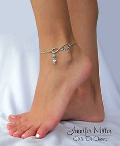 Something Blue Infinite Love Chain Wedding Anklet by ArteDiAmore