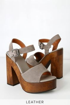 Stand out from the crowd in the Lulus Lolita Leather Grey Suede Wooden Platform Heels! These trendy heels have a genuine suede peep-toe upper. Hidden Wedge Sneakers, Suede Heels, Sandal Heels, Grey Heels, Fashion Heels, Swagg, Slide Sandals, Suede Leather, Me Too Shoes