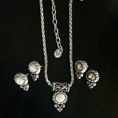 Brighton 1 HOUR SALE $45 Beautiful reversible and pearl and silver or gold and silver Brighton necklace with 2 pair of matching earrings. Brighton Jewelry Necklaces
