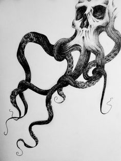 Surreal Skull Octopus Squid Drawing Print by KelseyMuellerArt, $10.00