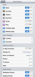ipad settings for student restrictions