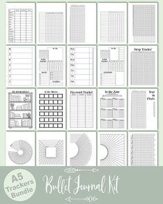 A5 Planner Inserts / Bullet Journal Kit, bujo mood tracker, book tracker, movie tracker, year in pixels, habit tracker, budget planner