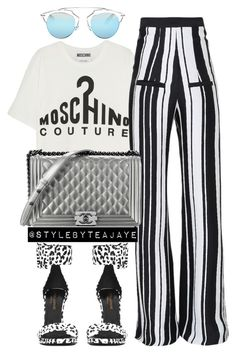 """""""Untitled #1908"""" by stylebyteajaye ❤ liked on Polyvore featuring Moschino, Balmain, Yves Saint Laurent, Christian Dior and Chanel"""