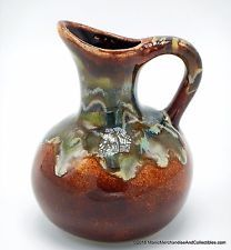 "Stoneware Southwest Art Pottery Drip Glaze Pitcher Brown Turquoise Signed 5"" NEW"