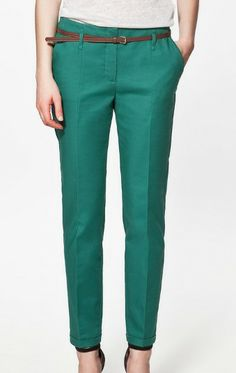 Green Cotton Pockets Side and Back Belt Turn Up Pant