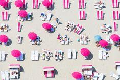 Pink Beach Club, Miami by Gray Malin Rosa Strand, Pink Umbrella, Beach Umbrella, Rosa Pink, Aerial Images, Beach Images, Beach Photos, Pink Beach, Beach Club