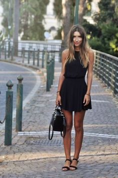 black summer dress & sandals #style #fashion