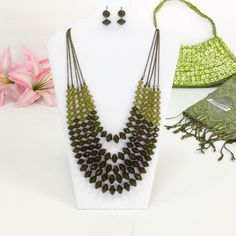 Beaded Necklace and Earring Set Lime green and olive beaded necklace and drop earrings. Hush Jewelry Necklaces