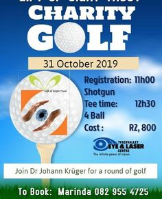 Kruger for a round of golf Power Of Vision, Laser Clinics, Golf Day, Good Cause, Charity, Eye, Trust, Join, Gifts