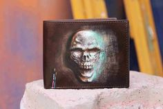 Hand Painted Skull On Men's Leather Wallet By VKALART