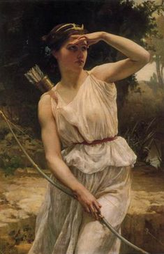 Artemis is Apollo's twin sister, daughter of Zeus and Leto. She was born on the island of Delos. Artemis is the goddess of hunting, and the flocks. She protects every animal on earth, wild or tame. Later she also became the protector of women ιn labor. Potnia Theron, Artemis Goddess, Greek Goddess Art, Artemis Art, Apollo And Artemis, Moon Goddess, Artemis Tattoo, Aphrodite Goddess, Roman Names