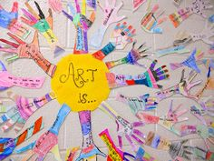 Panther's Palette: 3rd Grade - inspiration for hand watercolor (Book - I Ain't Gonna Paint No More). In center write I Am, prompting students to write inside their arm things about themselves.