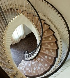 A Greek revival home in Austion. A curved staircase, perfection. Curved Staircase, Grand Staircase, Staircase Design, Spiral Staircases, Modern Staircase, Greek Revival Home, Beautiful Stairs, Take The Stairs, Stair Steps