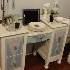 Lovely pastel colors on this antique vanity,  made in North Carolina! Just in time for Spring!