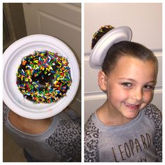 Crazy Hair Day Donut Hair: Cut hole in small plate.  Make pony tail high and to the side, pull hair through plate.  Use a foam donut bun former, make bun, bobby pin.  Slather donut with gel and add sprinkles (I had my daughter stand in bathtub for mess).  Add hair spray.  Blow dry on low from a couple of feet away for about 3 minutes.  Ta-da! So cute.