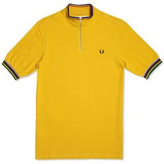 Fred Perry Bradley Wiggins Champion Tipped Cycling Shirt (Mustard) 6781c2bff
