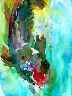 Koi Watercolor Print Print of Koi Watercolor by ArtbyJessBuhman Japanese Watercolor, Watercolor Fish, Watercolor Paintings, Original Paintings, Watercolors, Abstract Paintings, Fish Print, Print Print, Koi Painting