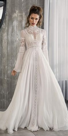 riki dalal 2018 glamour bridal long bell sleeves high neck heavily embellished bodice romantic bohemian a line wedding dress cross strap back sweep train mv -- 100 Wedding Dresses You Loved in Ball Gowns & A-Lines Bridal Gowns, Wedding Gowns, Wedding Dress 2018, Bridal Dresses 2018, 40s Wedding, Lace Wedding, Light Wedding, 2017 Bridal, Chic Wedding