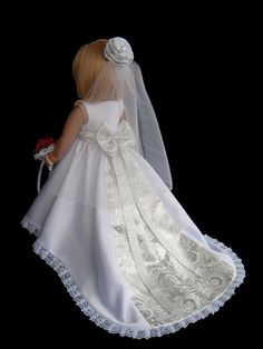 American Girl Doll Clothes Satin Princess Wedding Gown Dress. Ready to ship. This doll wedding set would make a beautiful flower girl gift!    This