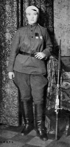 Original caption: 5/24/1915-Russia: The Muscovite Militant. (A Russian Joan of Arc) Mme. Kokovtseva, recently awarded the Cross of St. George for Bravery, is the Colonel commanding the 6th Ural Cossack Regiment. She has been wounded twice while fighting.
