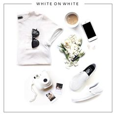 White on white: The summer staple trend. Make memories, rock out in your flats & wear cute pearl earrings. Do you need anything else?